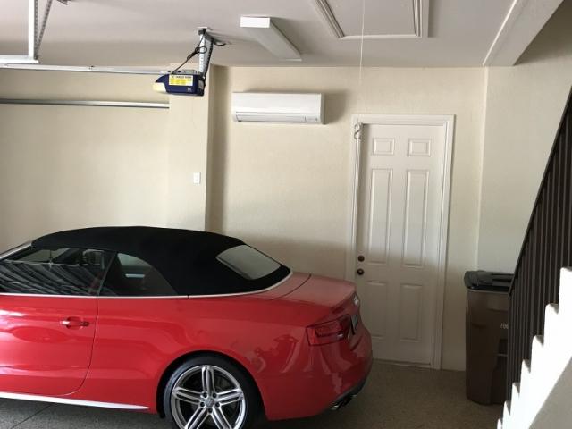 Custon garage mini-split air conditioner installation.