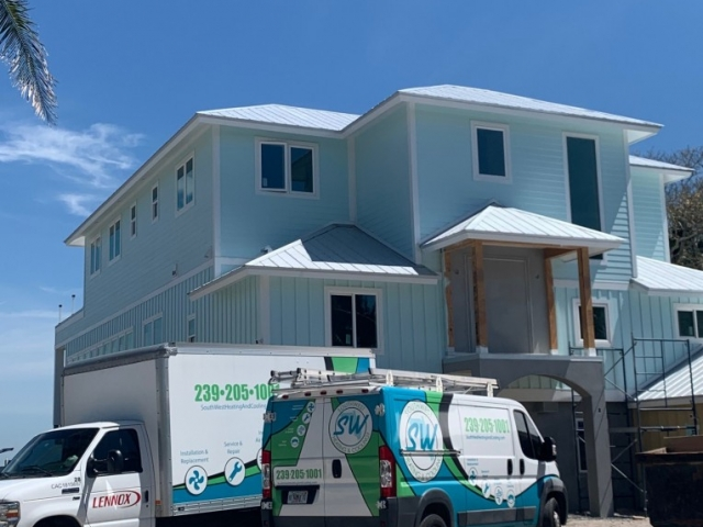 Air conditioning  installation and  startup on Pine Island.