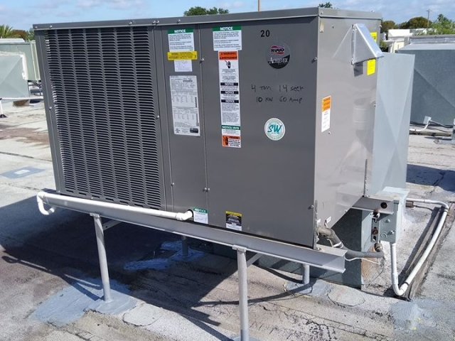 Commercial roof top air conditioner installation.
